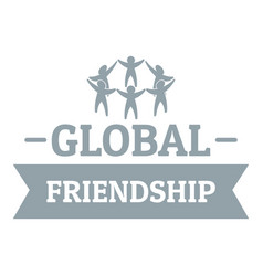 global friendship logo simple gray style vector image vector image