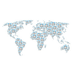 Global map mosaic of buzzer items vector