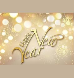 gold bokeh happy new year greeting card vector image