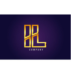 Gold golden alphabet letter il i l logo vector