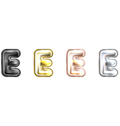 Golden foil balloon inflated alphabet symbol e vector