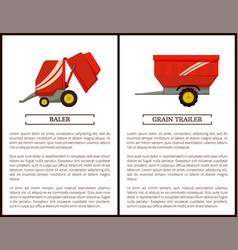 Grain trailer and baler set vector