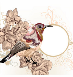grunge background with hand drawn bird in vintage vector image