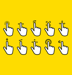 Hand gesture swipe big collection icons on yellow vector
