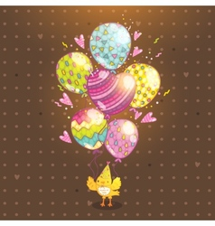 Happy Birthday background with bird and balloon vector image