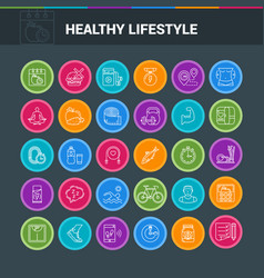 Healthy lifestyle colorful icons vector
