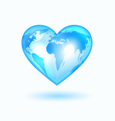 heart with world map vector image
