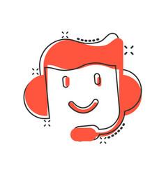 Helpdesk icon in comic style headphone cartoon on vector