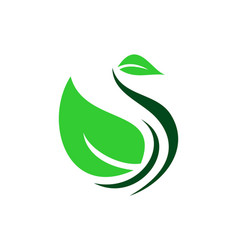herbal spa abstract swan logo icon vector image