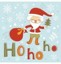 Hohoho Santa cute Christmas card vector