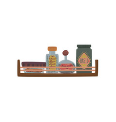 jars with herbs and spices on wooden shelf cartoon vector image