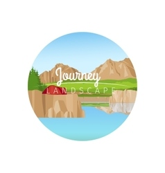 Journey landscape circle icon vector image