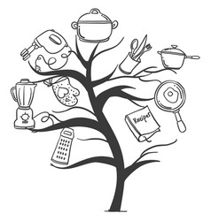 Kitchen set tree hand draw style vector