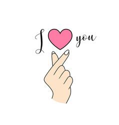 korean symbol hand heart i love you vector image