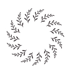 leaves and branches in circular frame vector image