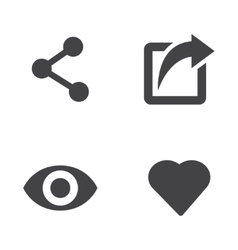 Like share view icon set vector