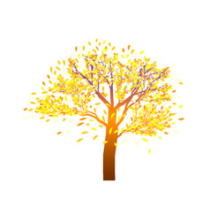Lonely autumn tree with bright foliage on a vector