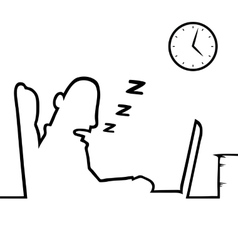 Man asleep at work vector
