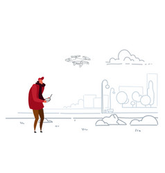 man using aerial remote controller playing drone vector image