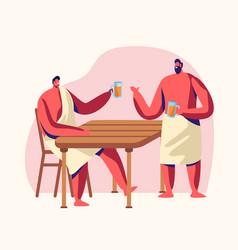 Men sitting in steam room drinking beer sauna vector
