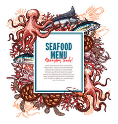 Menu for seafood or fish food restaurant vector