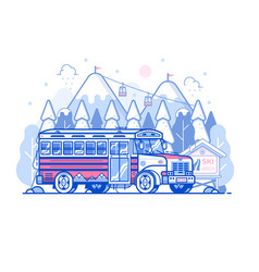 mountain ski resort shuttle bus vector image