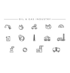 oil and gas industry concept line style vector image