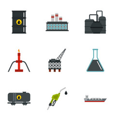 Oil and petroleum icons set flat style vector