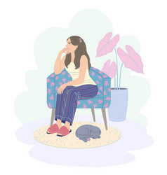 Pensive young woman sitting in armchair vector