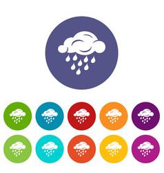 rain cloud icons set color vector image