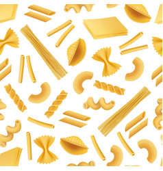 Realistic pasta types pattern or background vector