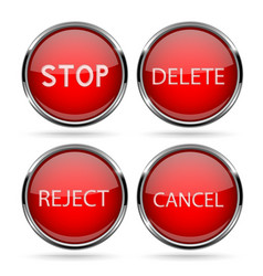 Red glass buttons with chrome frame vector
