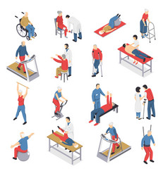 Rehabilitation physiotherapy isometric icons set vector
