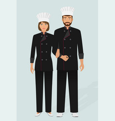 restaurant chef and cook in uniform couple of vector image