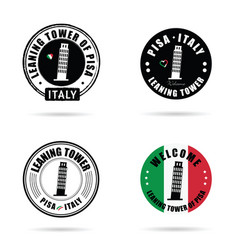 seal learning tower of pisa in italy set vector image
