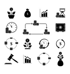 Set budget investment icons vector