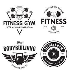 Set monochrome fitness emblems labels badges vector