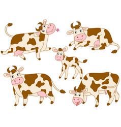set of cute cartoon cows vector image