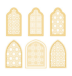 set of ornamental windows in arabic style vector image
