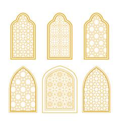 Set of ornamental windows in arabic style vector