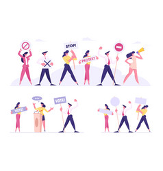 set protesting people presidential election vector image
