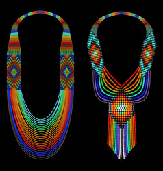 Set rainbow bead necklace on a black background vector
