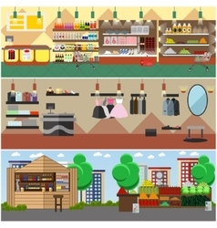 Shopping in a store and local market concept vector