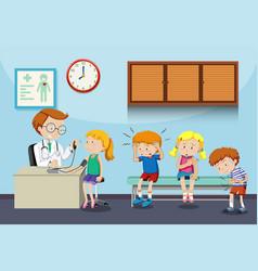 sick children wait to see doctor vector image