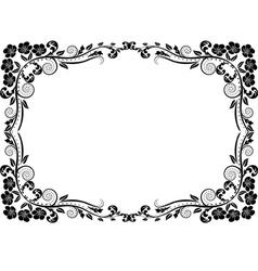 Silhouette frame flowers vector
