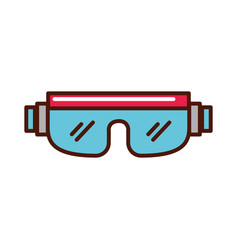 Snowboard protective glasses cartoon vector