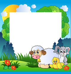 spring frame with various animals vector image