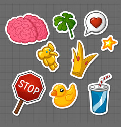 stickers set vector image