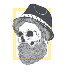 Stylish skull with a beard in a summer hat vector