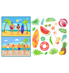 summer people man and woman vector image
